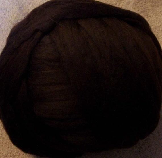 Wool Roving - Merino Wool Roving - Bitter Chocolate - 8oz
