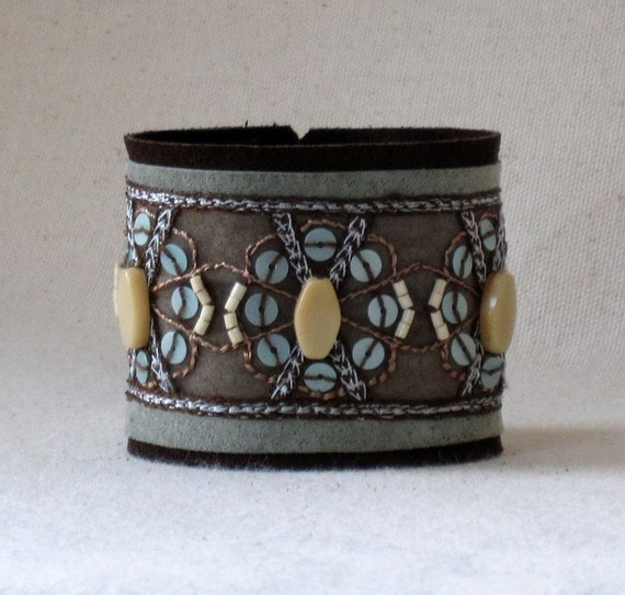 Boho Beaded Ribbon Leather Cuff