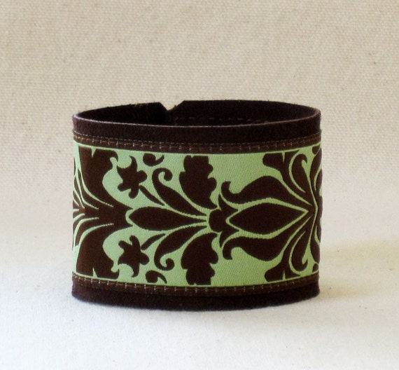 Damask Apple Green And Brown Leather And Ribbon  Cuff