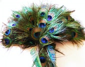 Peacock Feather Cascading  Bridal Bouquet