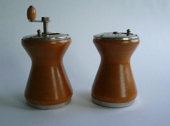 Vintage wood salt and pepper grinder set