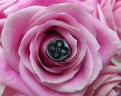 Set of 5 Floral Black Glass Buttons VB177