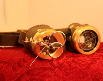 Steampunk goggles brass and brown with magnifier lenses