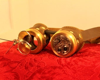 Steampunk goggles Clockwork Borg with magnifiers in brown leather and brass