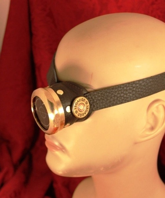 Steampunk MONOCLE brass and BLACK with ruby redTARGETING lens