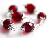 Cherry Red Bracelet Antique Silver Wire Wrapped Bracelet, Ruby Red Faceted Glass Bracelet, Pomegranate Berry Red, Elegant Fancy Ornate