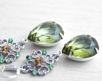 Olive Green Rhinestone Earrings in Silver Filigree - Peridot Green, Citrine Yellow and Olivine - Pear Shaped Vintage Jewels