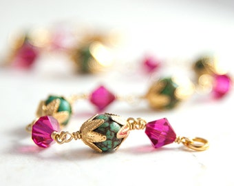 Green Gemstone Bracelet Gold and Pink Crystal, Fuchsia Hot Pink Wire Wrapped Bracelet, Magnesite Green and Pink Bracelet