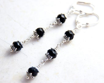Black Glass Earrings Antique Silver, Dark Long Dangle Earrings, Wire Wrapped Tiered Strand, Elegant Jet Faceted Glass Earrings