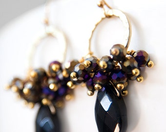 Black and Purple Cluster Earrings Gold, Wire Wrapped Earrings, Beaded Hoop Earrings, Briolette Teardrop Crystal and Glass, Hammered, AB Iris