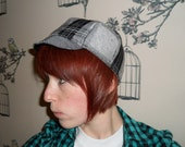SALE. Unisex Winter cycling cap. Glitter plaid fabric, wool lined