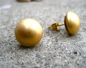 Reserved for Zimtstern -- Matte Gold Button Stud Earrings