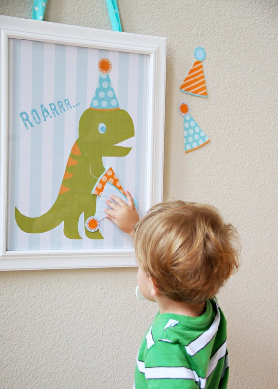 Items similar to party game pin the hat on the dinosaur for Pin the tail on the dinosaur template