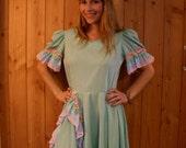 Last chance Sale The Jolene, mint green square dance dress with pastel rainbow details