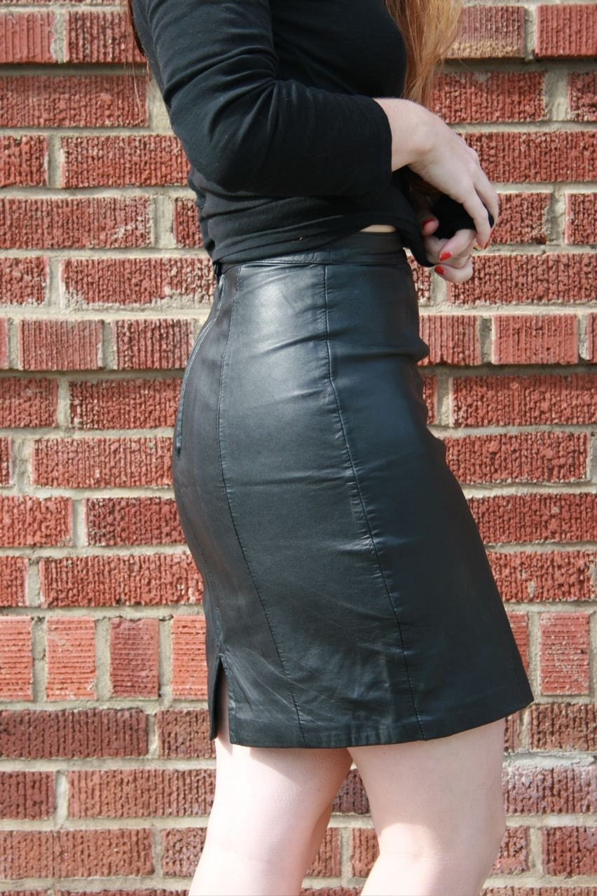 Sale Bad Girls Club Black Leather Skirt By Flocole On Etsy