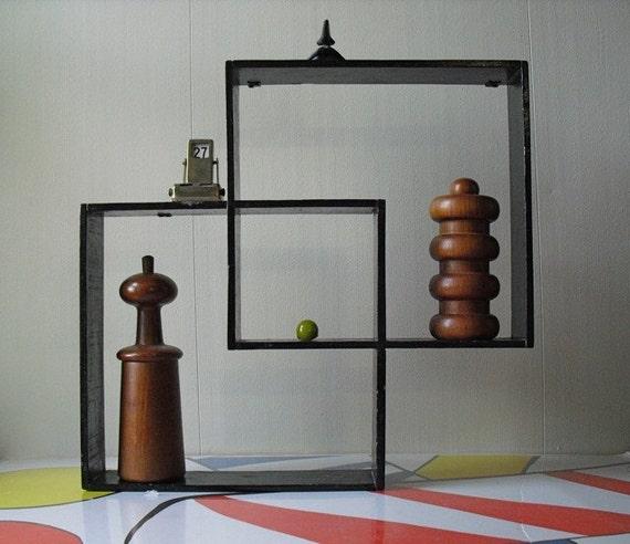 Vintage Mid Century Modern Black Geometric Squares Wall Hanging Shadow Box
