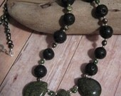 Green Serpentine Lava Rock Freshwater Pearl and Sterling Silver OOAK Handmade Necklace