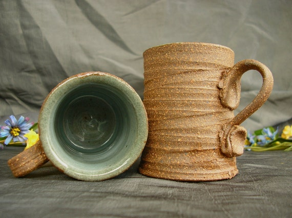 Espresso Coffee Mug Set in Sky Blue and Speckled Brown