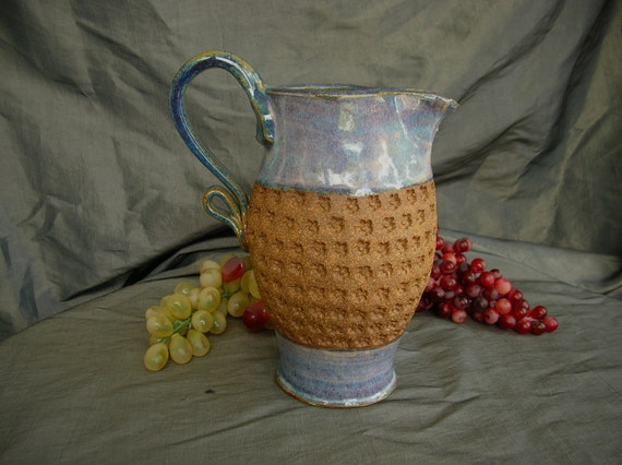 Ceramic Pitcher in Dusk Purple and Speckled Brown