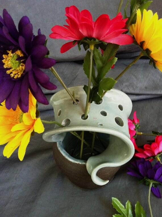 Ceramic Wild Flower Vase in Sky Blue and Black Mountain