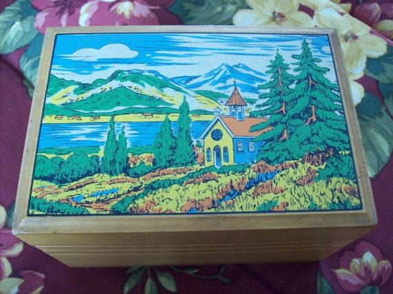 Vintage Wooden Music Trinket Box Japan