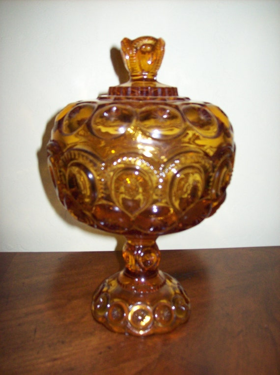Moon and Star Vintage Amber Candy Dish or Compote With Lid  by L G Wright