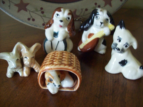 SALE Lot of 5 Dog Puppy Knick Knack Home Decor Collectibles From Japan Was 10.00