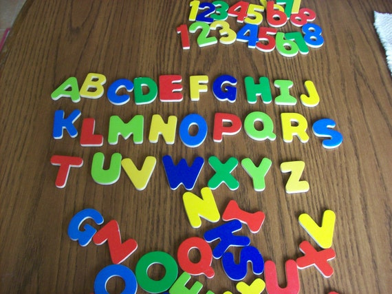 69 Wooden Magnetic Numbers and Letters for Crafting or Playing and Learning
