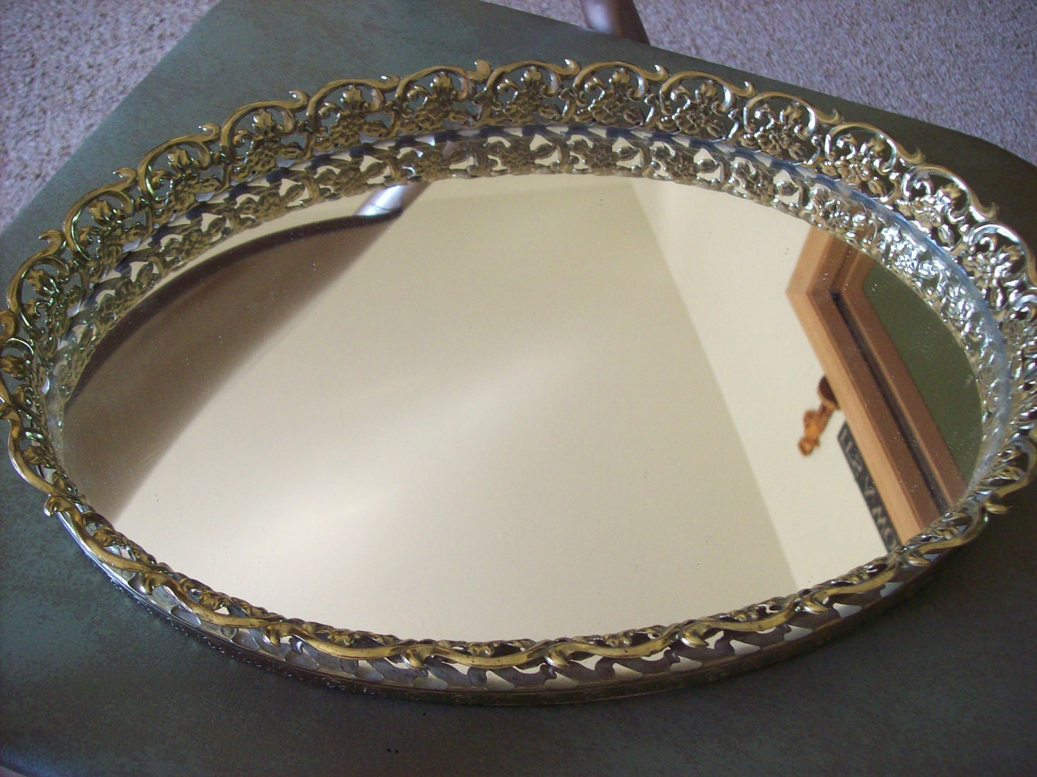 Vintage Perfume Tray Mirrored Vanity Tray by kris67 on Etsy