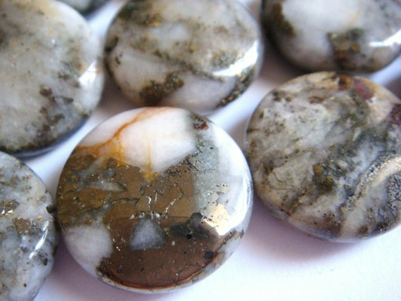 28. Pyrite with Magnesite 20mm Faceted Coin Shape 16 Inches Strand 20pcs Stone Bead
