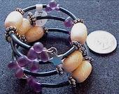 Desert Sun and Smooth Briolette Amethyst Bead Bangle Memory Wire Bracelet