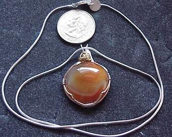Carnelian Pendant on Sterling Silver Chain, PN6