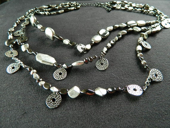 Shades of Gray and Silver multistrand necklace - FREE SHIPPING