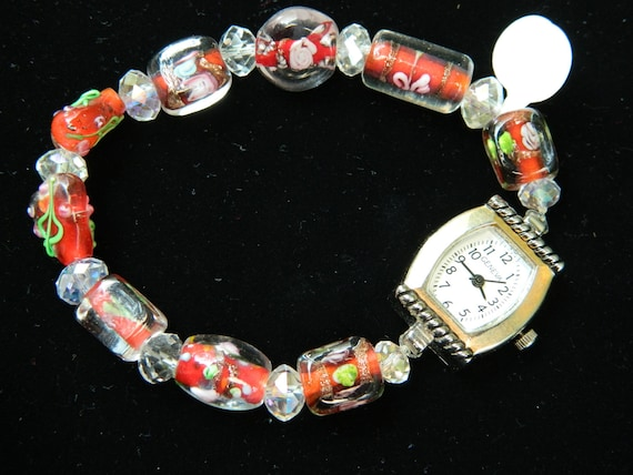 Watch with Red-Orange Lampwork and Czech Crystal Beaded Band