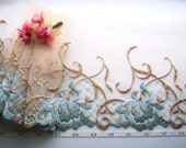 Tawny embroidered floral tulle net lace trim Victorian 2 1/4 yards BN028