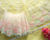 Pink lace, Tulle lace, Net lace, Embroidered fabric, Bridal lace, 2 yards RD088
