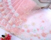 Pink lace embroidered floral tulle net lace trim 2 yards RD163