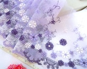 Embroidered trim, Tulle lace, Lolita lace, Violet lace, Lace trim, Floral trim, Girls' lace,  2 yards VT108