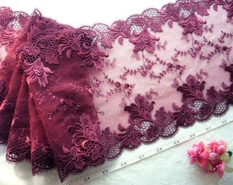 Embroidered lace trim, Tulle lace, Burgundy lace, bridal lace fabric 1 1/2 yards RD086