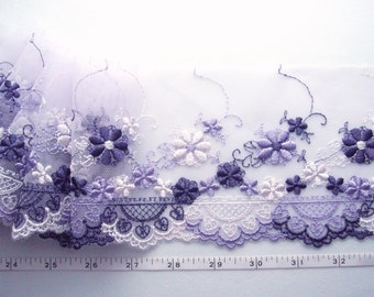 Embroidered lace, Lace trim, Embroidered trim, Tulle lace, Wedding lace, Girls lace, Floral lace, Violet lace,  2 3/4 yards VT082