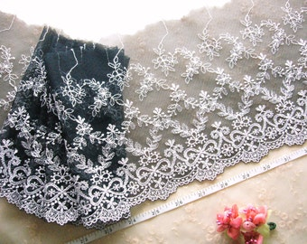 Lace trim, Embroidered lace, Vintage design lace, Tulle lace, Black lace, Net lace,  2 yards BK063
