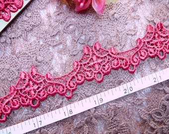 Embroidered trim, Antique design trim, Heirloom trim, Red trim, Doll trim, soft venise lace 4 yards NT218
