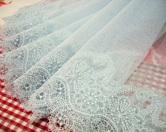 Embroidered lace, vintage design, lace trim, tulle lace, net lace, heirloom lace, 2 yards BL080