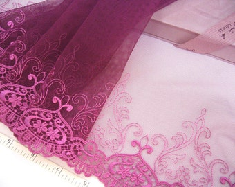 Embroidered lace Lace trim Victorian lace Antique design lace Tulle lace Wedding lace Purple lace, 2 yards VT106