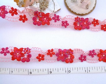 Embroidered trim, Red floral trim, Embroidered floral trim, Doll trim, Girls trim, Embellishing trim, venise trim 2  yards NT238
