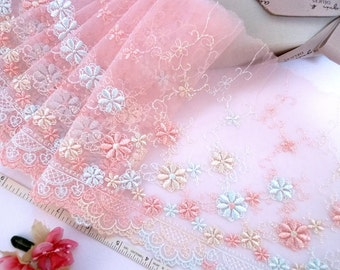Pink lace, Girls lace, Lolita lace, Embroidered lace, Tulle lace, 2 yards RD163