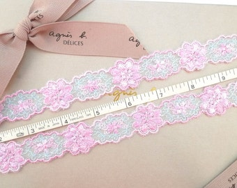Embroidered trimmings, tulle net edging trim in blue and pink 7 yards NT246