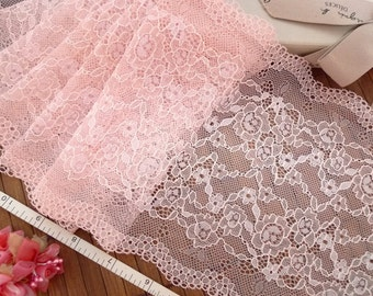Embroidered lace, Lace trim, Pink lace, Sheer lace, Floral lace,  2 yards RD158