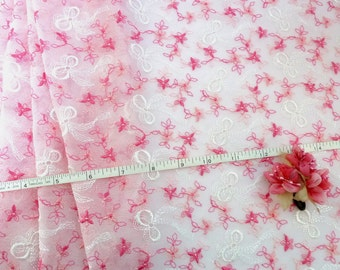 "Stretch fabric, Embroidered fabric, Elastic fabric, Tulle fabric, Girls tutu, Pink fabric, White fabric, 56"" x 1 yard FB031"