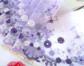 Embroidered trim, Tulle lace, Lolita lace, Violet lace, Lace trim, Floral trim, Girls' lace,  2 yards VT108